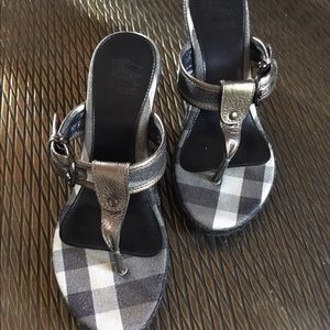 Burberry Shimmer Check Espadrille Wedge Sandal